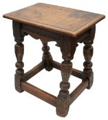 A 19th century oak joint stool in 17th century style