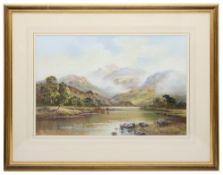 Wendy Reeves (British b.1945) 'Scottish highland loch with cattle'