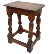A Charles I and later oak joint stool