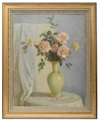 Russian school, 20th c 'Still life with flowers', oil on canvas