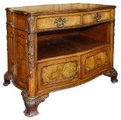 An early 20th century George II style walnut and burr walnut serpentine library cabinet c.1900