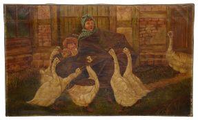 J. Walkeden (Brit. 20th c) 'Children Attacked by Geese', oil on canvas