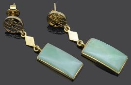 A pair of contemporary Chinese jade set drop earrings