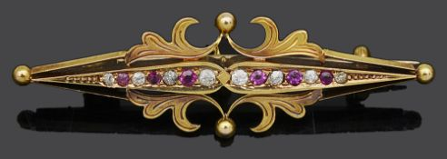 A 15ct gold ruby and diamond bar brooch
