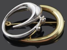 A Continental contemporary 14ct gold and diamond set brooch