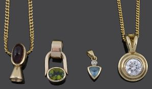 A collection of four Continental gem set modernist style pendants