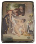 An early 20th century continental silver and enamel erotic cigarette case