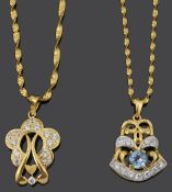 Two contemporary Arabic .916 gold gem set scroll pendants on chain