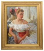Youri Krotov (Russian, b.1964)'Portrait of a dancer', oil on canvas