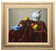 Israel Zohar (b.1945)'Still life with apple and pitcher' oil on canvas