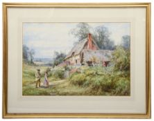 Manner of Myles Birket Foster 'Children playing by thatched cottage'