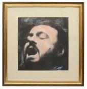 Harold Riley (British, b.1934) 'Luciano Pavarotti',charcoal and pastel
