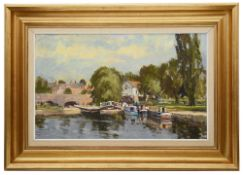 John Neale (English School, 20th c) 'River scene with canal boats'