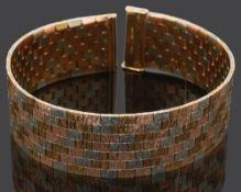 A three coloured 9ct gold textured brick link bracelet