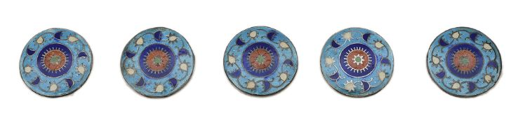 Five cloisonnŽ enamel and white metal buttons
