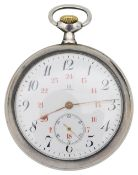 A silver Omega 24 hour pocket watch