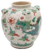 A late 19th or early 20th century Chinese famille verte crackle glaze vase