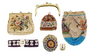 Three Victorian ladies beaded purses and related ladies items