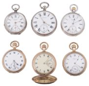A collection of six pocket watches
