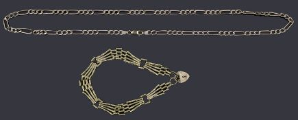 A 9ct gold three row gate link bracelet with padlock