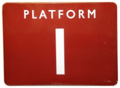 A BR(M) enamel sign displaying 'PLATFORM 1',with white letters on a maroon ground,height 45.8cm,