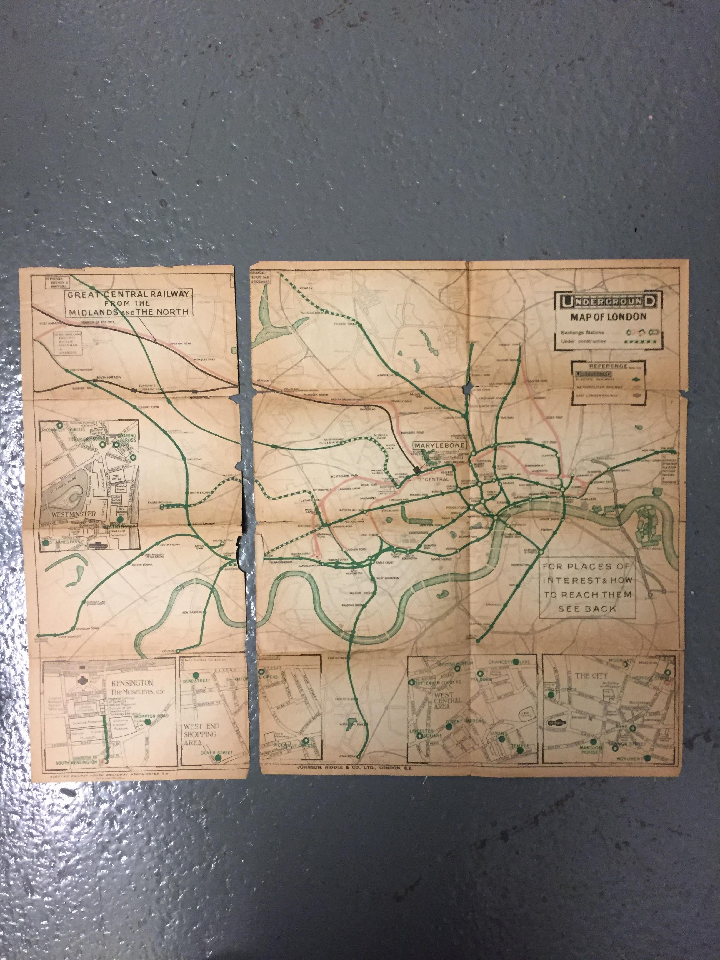 Nine 1910/20s folding pocket maps for London transport,comprising a 1916 General Omnibus Map of some - Image 7 of 15