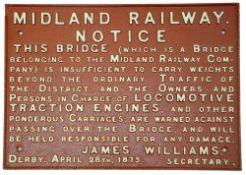 A Midland Railway cast iron bridge notice