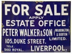 A vintage enamel 'FOR SALE' sign for Peter Walker & Son,