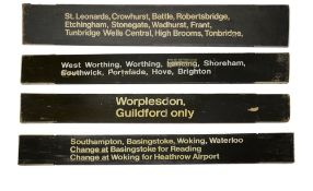 A group of Southern Railway wooden destination boards