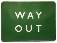 A BR(S) enamel sign displaying 'WAY OUT',with white lettering on green groundheight 45.7cm, width