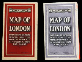 Two 1920s Metropolitan Railway pocket Maps of London