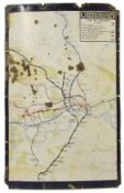 An early 20th century enamel map of the London Underground network,showing only the central London