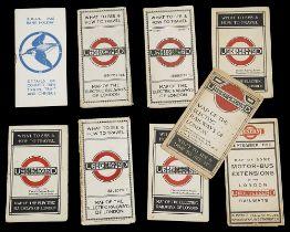 Nine 1910/20s folding pocket maps for London transport,comprising a 1916 General Omnibus Map of some