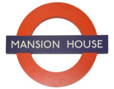 A modern London Underground roundel sign for Mansion House