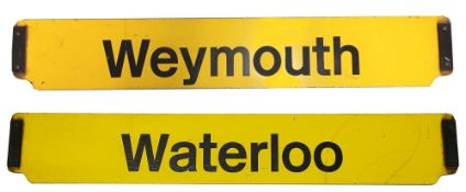 A double-sided enamel railway cab plate for Waterloo / Weymouth