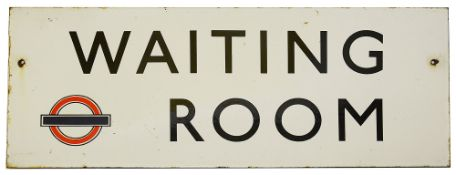 A London Transport double sided enamel sign displaying 'WAITING ROOM',c. 1940s, black lettering on