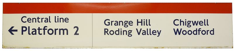A London Underground enamel direction sign for the Central line
