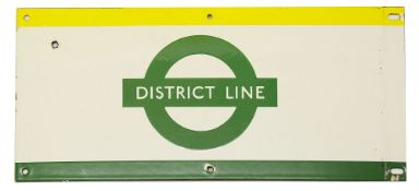 A London Underground enamel station frieze sign for 'DISTRICT LINE',yellow and green edging and