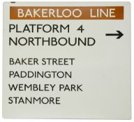 A London Underground enamel directional sign displaying 'BAKERLOO LINE / PLATFORM 4 / NORTHBOUND,