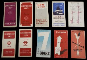 Ten late 1930s/1940s London Underground folding pocket maps