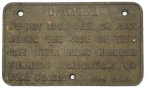 An Edwardian cast iron railway issue caution sign,