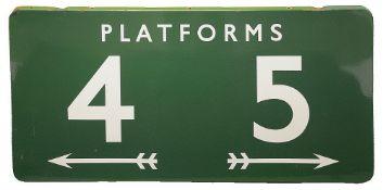 A BR(S) enamel sign displaying 'PLATFORMS / 4 & 5'with white lettering on a green ground, with two
