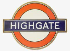 A pre-war London Underground Highgate enamel 'bullseye' roundel sign,in bronze frameheight 45.5cm,