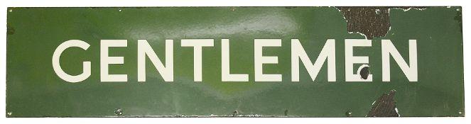 A BR(S) enamel sign displaying 'GENTLEMEN'