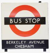 A London Transport enamel Bus stop sign 'BERKELEY AVENUE'