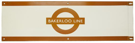 A London Underground enamel station frieze sign for 'BAKERLOO LINE',brown edging and roundel on