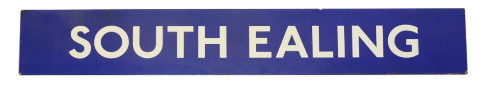 A London Underground enamel station sign displaying 'SOUTH EALING'