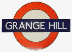 A London Underground enamel station roundel for Grange Hill,c.1930s-40s, in three parts consisting