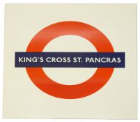 A London Underground enamel roundel for Kings Cross St. Pancras