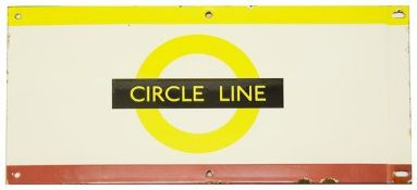 A London Underground enamel station frieze sign for 'CIRCLE LINE',yellow and maroon edging for the